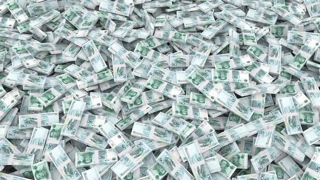 Verpackung von banknoten in stückelungen von fünfzig chinesischen yuan für den gesamten rahmen