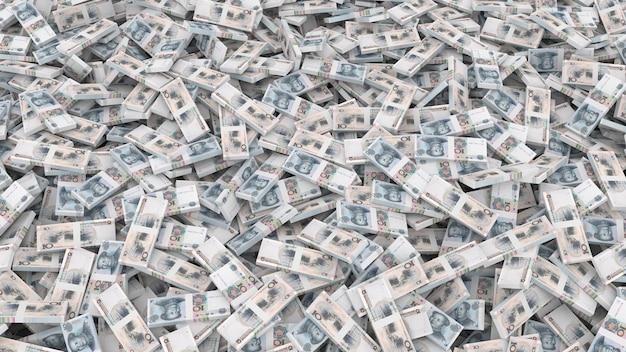 Verpackung von banknoten in stückelungen von zehn chinesischen yuan für den gesamten rahmen