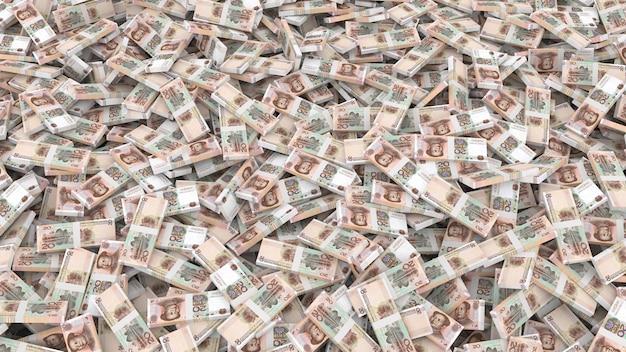Verpackung von banknoten in stückelungen von zwanzig chinesischen yuan für den gesamten rahmen