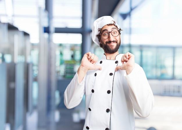 Verrückten koch glücklich ausdruck