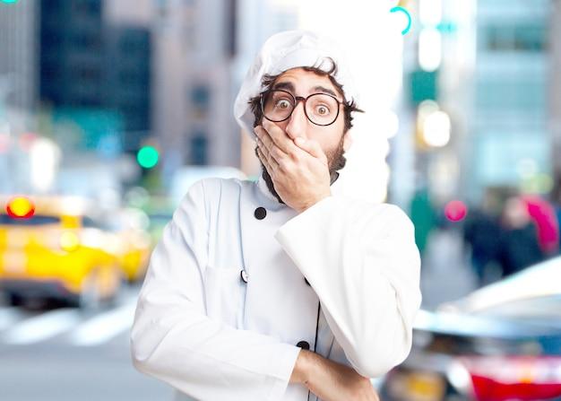 Verrückten koch überrascht ausdruck