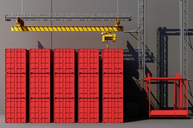 Versandbehälter hängen an einem kran. globales geschäftshandelskonzept 3d. 3d-rendering