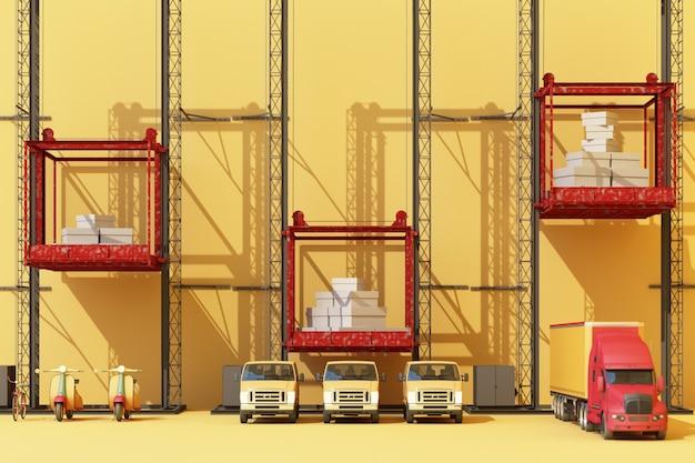 Versandbehälter hängen an einem kran mit anhänger und roller fahrrad und van. globales geschäftshandelskonzept 3d. 3d-rendering