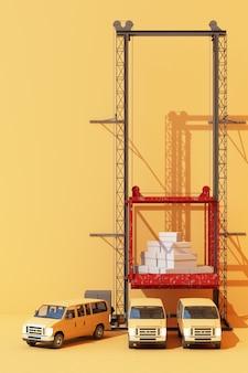 Versandbehälter hängen an einem kranwagen. globales geschäftshandelskonzept 3d. 3d-rendering Premium Fotos