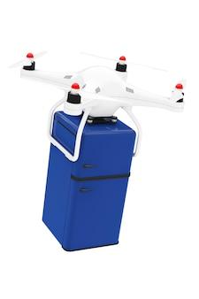 Versandkonzept. quadrocopter-drohnen liefern retro-kühlschrank auf weißem hintergrund. 3d-rendering
