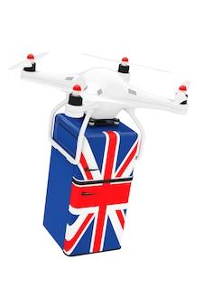 Versandkonzept. quadrocopter-drohnen liefern retro-kühlschrank mit der britischen flagge auf weißem hintergrund. 3d-rendering