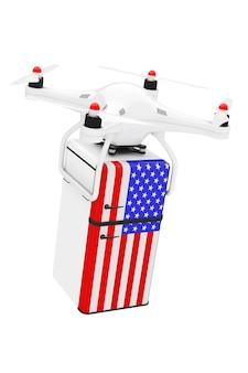 Versandkonzept. quadrocopter-drohnen liefern retro-kühlschrank mit der usa-flagge auf weißem hintergrund. 3d-rendering