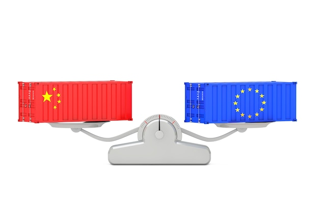Versandkonzept. versandbehälter mit china- und eu-flaggen, die auf einer einfachen gewichtungsskala auf weißem hintergrund balancieren. 3d-rendering