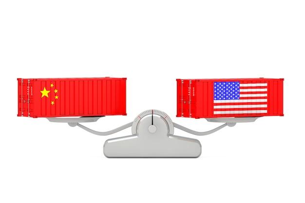 Versandkonzept. versandbehälter mit china- und usa-flaggen, die auf einer einfachen gewichtungsskala auf einem weißen hintergrund balancieren. 3d-rendering