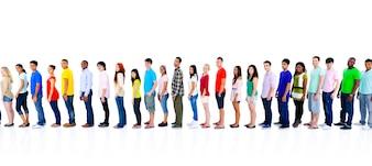 Verschiedenartigkeits-Leute-Mengen-Freund-Kommunikations-Konzept