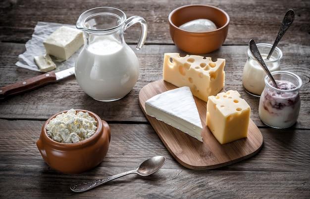 Verschiedene arten von milchprodukten
