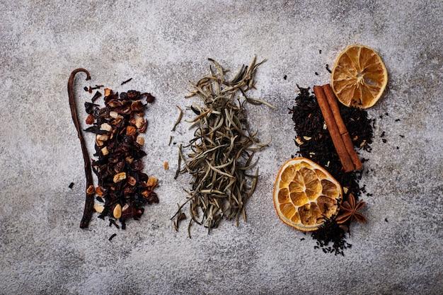 Verschiedene arten von trockenem tee