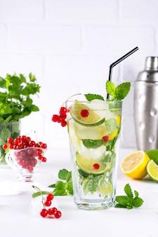 Verschiedene beerenlimonaden- oder mojito-cocktails, frisch gefrorene zitronenlimette, wasser mit roten johannisbeeren, gesunde entgiftungsgetränke im sommer mit hellem hintergrund