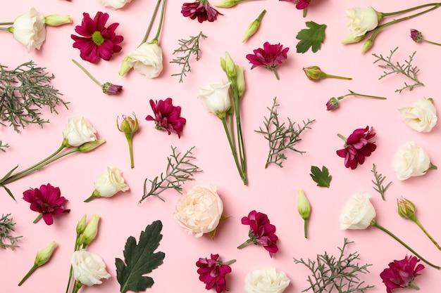 Verschiedene blumen und blätter auf rosa hintergrund, draufsicht