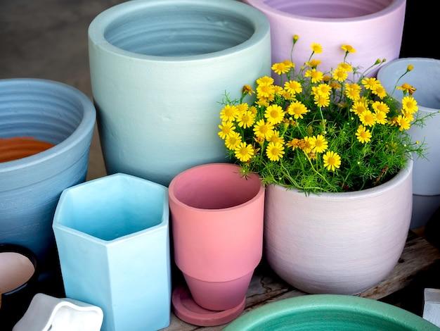 Verschiedene bunte keramikpflanzentöpfe mit gelben blumen, die auf einem holzregal auf betonboden angeordnet sind. geometrischer keramiktopf.