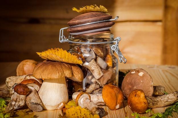 Verschiedene essbare pilze, die im herbst im wald gesammelt wurden
