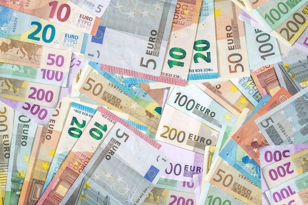 Verschiedene euro-banknoten verwendet, nahaufnahme