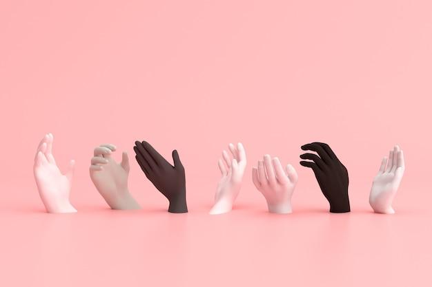 Verschiedene farben der hände, schwarzes geschichtsmonatskonzept.