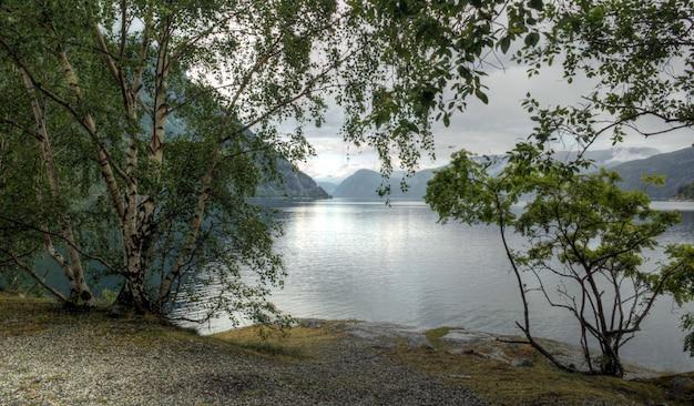 Verschiedene farben einer norwegischen landschaft