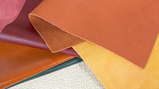Verschiedene farben naturleder texturen muster. nahaufnahme