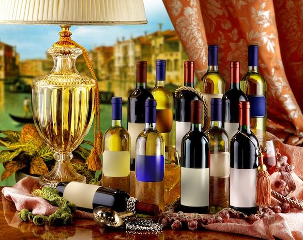 Verschiedene flaschen wein