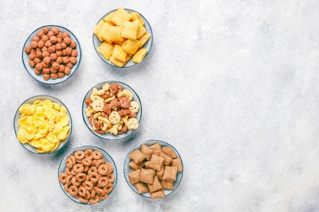Verschiedene frühstückszerealien