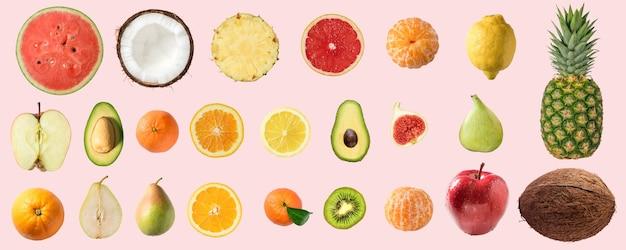 Verschiedene gemüse und früchte lokalisiert auf rosa hintergrund