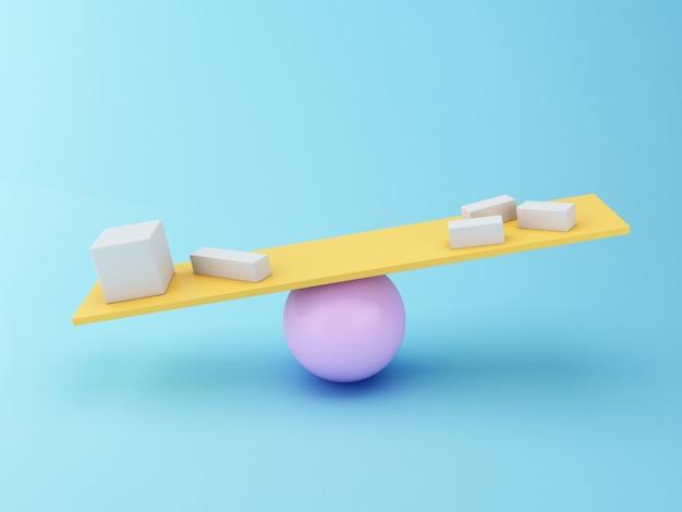 Verschiedene geometrische formen 3d, die auf einer wippe balancieren.