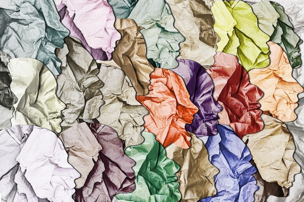 Verschiedene gesichter mit texturhintergrund