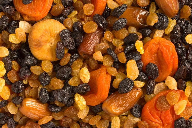 Verschiedene getrocknete früchte nahaufnahme