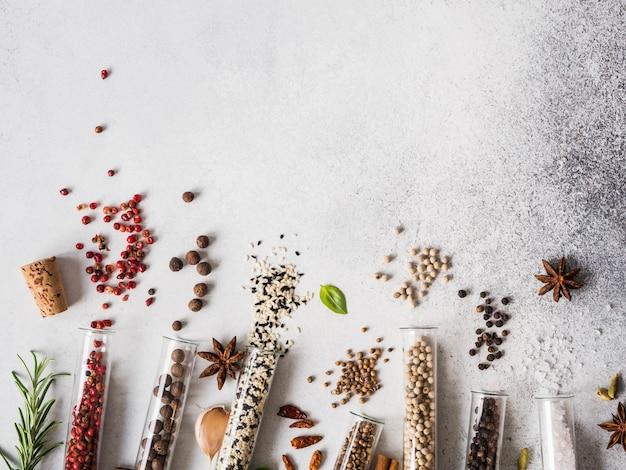 Verschiedene gewürze in den glasreagenzgläsern und in den frischen kräutern auf grauem hintergrund. reihe von verschiedenen gewürzen und kräutern flach zu legen. kopieren sie platz