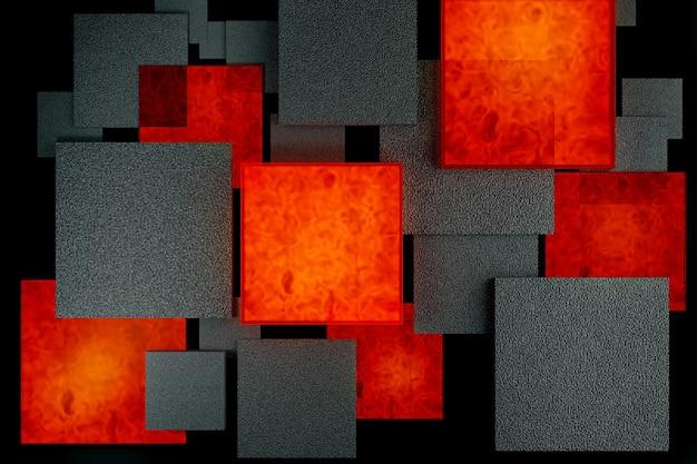 Verschiedene größen und ebenen schwarz und lava feuer brennende steinplatten über schwarzem abstrakten hintergrund für produktdemonstration. kreatives layout, 3d-rendering