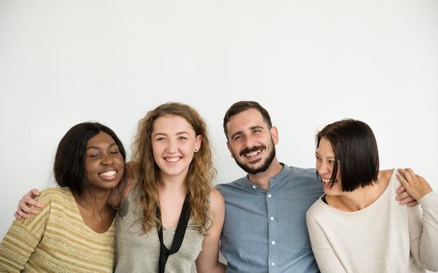 Verschiedene gruppe von personen verbindungsstudio schießen