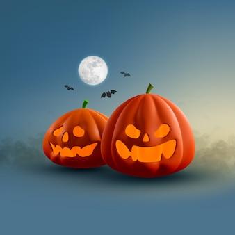 Verschiedene halloween kürbis mit vollmond