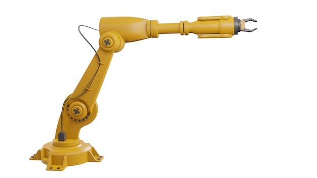 Verschiedene industrieroboter isoliert auf weißem hintergrund 3d rendering weißen roboterarm mit leerzeichen auf weißem hintergrund