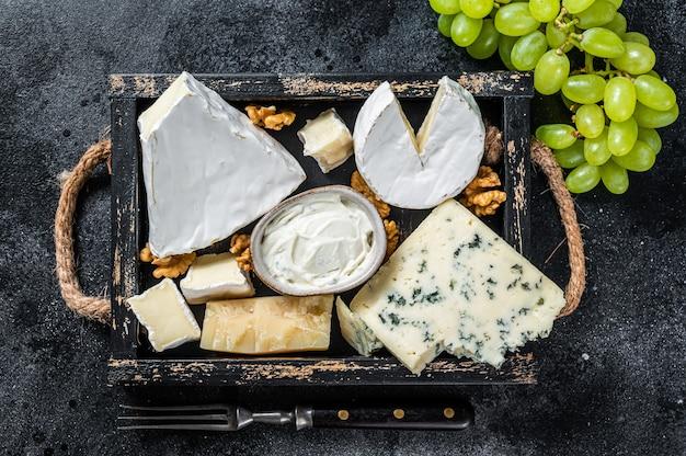 Verschiedene käseplatte mit brie, camembert, roquefort, parmesan, blauschimmelkäse, trauben und nüssen. schwarzer hintergrund. ansicht von oben.