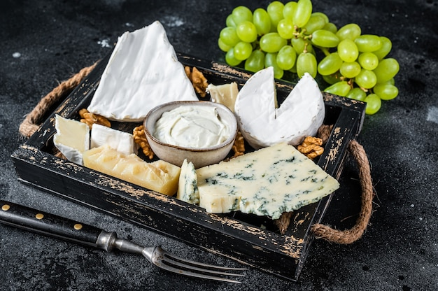Verschiedene käseplatten mit brie, camembert, roquefort, parmesan, blauschimmelkäse, trauben und nüssen