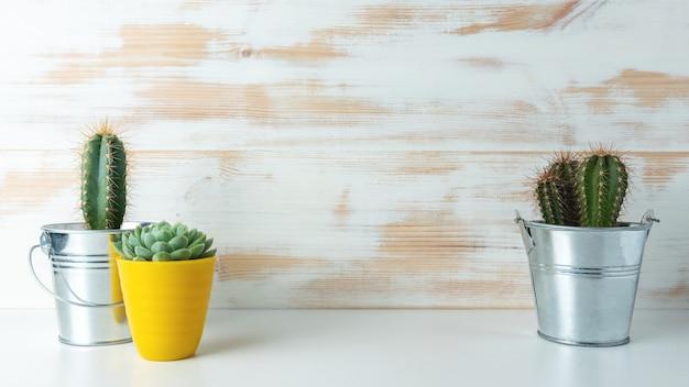 Verschiedene kaktuspflanzen in verschiedenen töpfen auf hölzernem hintergrund