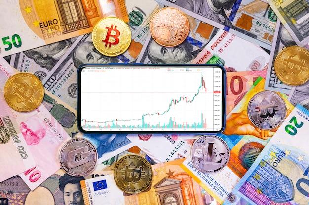 Verschiedene kryptowährungen und ein smartphone mit grafik.