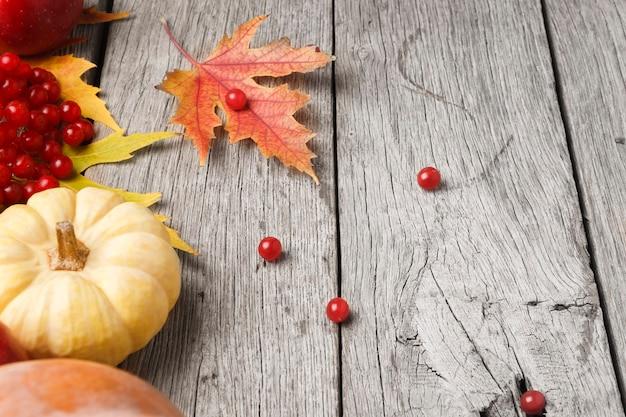 Verschiedene kürbisse, ebereschen, äpfel und herbstblätter auf verwittertem rustikalem holz