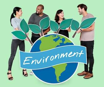 Verschiedene Leute mit Umwelterhaltungskonzeptikonen