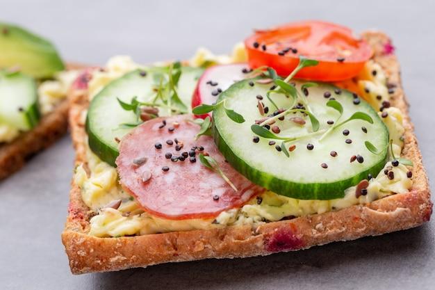 Verschiedene mini-sandwiches mit frischkäse, gemüse und salami. sandwiches mit gurke, rettich, tomaten, salami auf grauem hintergrund, draufsicht. flach liegen.