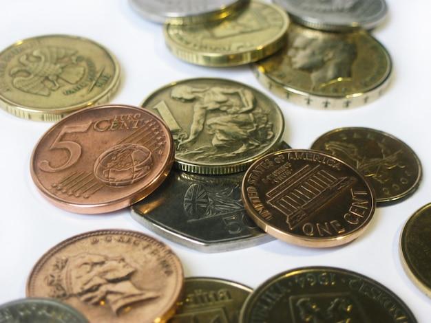 Verschiedene münzen aus verschiedenen ländern