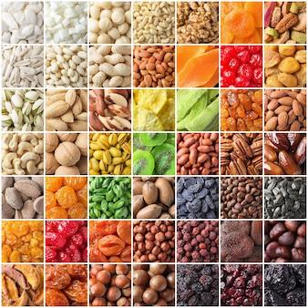 Verschiedene nüsse und trockenfrüchte, bio-lebensmittelhintergrund der großen mischung.