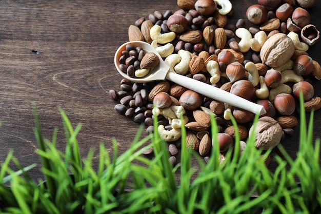 Verschiedene nützliche und leckere nüsse auf einem holztisch und töpfe mit grünem gras