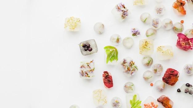 Verschiedene pflanzen in eisvierecken und kugeln