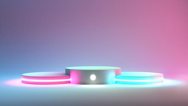 Verschiedene podesthöhen mit neonlichtern. 3d-rendering