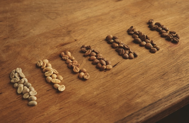 Verschiedene röstkaffeesorten, sieben sorten, von rohen frischen bohnen bis zu schokoladenwarmer backform für espresso.