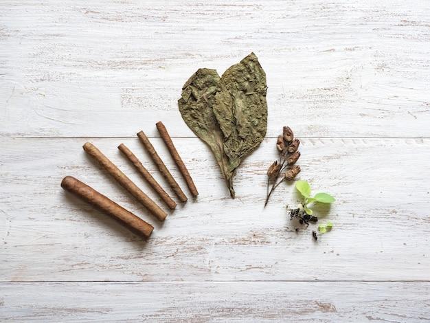 Verschiedene stufen bei der herstellung von zigarren. fertige zigarren, tabakblätter, tabaksprossen und samen werden auf einem holztisch ausgelegt.