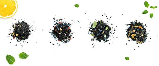 Verschiedene teesorten auf weiß